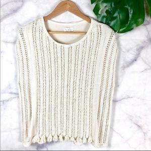 Lucky Brand Knit Cream Sleeveless Sweater Top Med